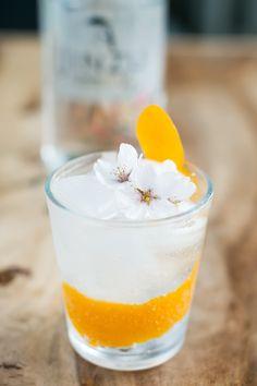 G&T med Jinzu Gin, Macario Tonic, garneret med kirsebærblomst og appelsinskal. Photo by Michael Sperling.