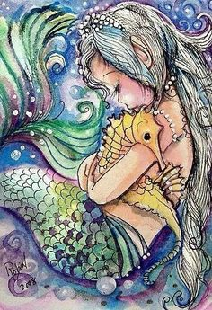 An amazing illustration of a mermaid and a seahorse. my mermaid is going to have a pet seahorse called Hippo. Mermaid Room, Baby Mermaid, Manga Mermaid, Mermaid Sketch, Mermaid Bathroom, Cute Mermaid, Vintage Mermaid, Mermaid Tails, Mermaids And Mermen