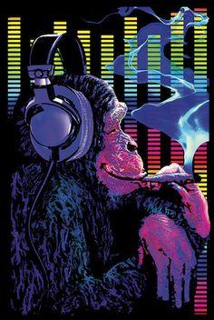 Funky Monkey - Black Light Poster, 24 in. x 36 in., SKU: 005742