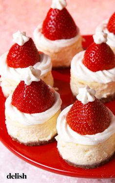 Mini Santa Cheesecake Bites - Holiday Recipes: Menus, Desserts, Party Ideas from Food Network . Christmas Party Food, Xmas Food, Christmas Cooking, Christmas Foods, Christmas Christmas, Baking For Christmas, Christmas Lasagna, Christmas Things To Do, Christmas Buffet