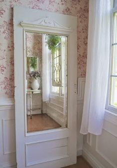 Vintage Farmhouse Decor Old painted white door with a mirror added. Would look wonderful in any room of your home! Vintage Farmhouse, Farmhouse Decor, Bedroom Barn Door, Mirror Bedroom, Bedroom Rustic, Bedroom Wallpaper, Salon Interior Design, Chic Bathrooms, White Doors