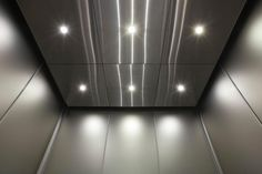 Elevator ceiling in Stainless Steel with Satin finish at Mission City Corporate Center, San Diego, California