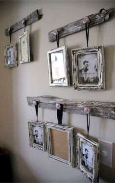Rustic wall decor ideas to make - cute DIY idea for hanging pictures on the wall with old wood (pallet woods?)