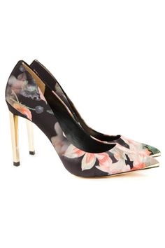 The Ten Pumps that Will Brighten Your Day - Best Floral Pumps - Elle: Ted Baker Saeber Printed Court Heel, $200; tedbaker.com