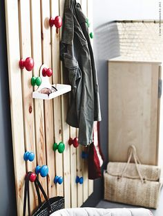 i want this wooden slat Ikea Hall, Ikea Ps 2012, Wall Hanger, Hangers, Wooden Slats, Home Organization, Furniture Makeover, Kids Bedroom, Wind Chimes