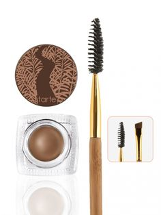 Amazonian clay-infused brow mousse with a shape shifter double ended bamboo brow brush.