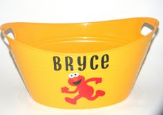 Personalized Childrens Elmo Inspired Plastic by anniescraftcorner, $8.00