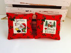 2 Christmas pillows ornament cross stitch holiday decoration
