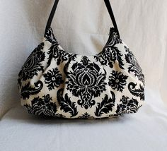Pleated Bag  Damask in Cavern by lireca on Etsy, $35.00
