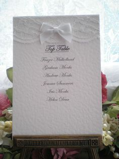 R0014 Romance Table Plan Card White Lace Satin Bow, Vintage Lace Wedding Cards