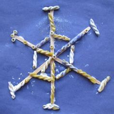 Winter pasta snowflake #craft for #kids