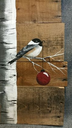 Christmas Sign, White Birch, Red Pear, Natural Wood Pallet Art, V . Wood Pallet Art, Pallet Painting, Wood Pallets, Painting On Wood, Wood Art, Pallet Boards, Christmas Wood, Christmas Signs, Christmas Decorations