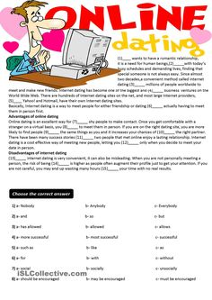 Cloze Test+Writing- Online Dating (key is given)