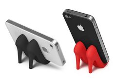 This pretty pair of pumps props up your phone so you can pay proper appreciation. Because everything looks better in heels, including your iPhone. Pumped Up is 100% pure silicone, available in Classic Black or Dorothy Red, and packaged in a clear recyclable, peggable display box.