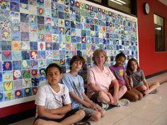 Allen tile mural- each grade a different theme, Anniversary Celebration Tile Murals, Tile Art, Wall Tiles, Classroom Projects, School Projects, Auction Projects, Auction Ideas, Collaborative Art Projects, School Auction