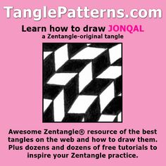 Step-by-step instructions to learn how to draw the Zentangle-original tangle pattern: Jonqal