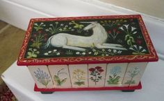 OOAK Medieval Unicorn and Flowers Chest