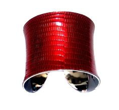 Metallic Red Lizard Leather Cuff Bracelet - by UNEARTHED. via Etsy.