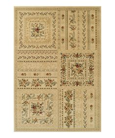 Looking for something like this for Peach room. Another great find on #zulily! Ivory Floral Blocks Wembley Rug #zulilyfinds