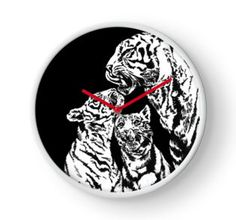 Clock 'tiger and cubs' by Mindgoop