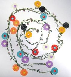 Scarf Necklace  Multi Color Round Crochet oya lace by istanbuloya, $38.00