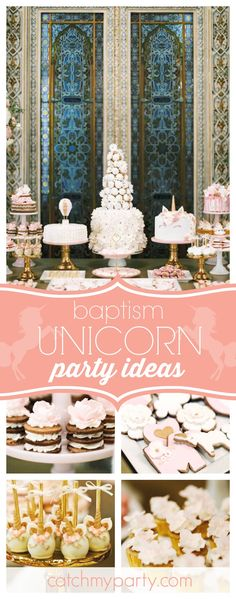 Francisca N's Baptism / Glamorous Unicorn - Glamorous Unicorn Christening Party at Catch My Party Christening Cupcakes, Christening Decorations, Christening Party, Baptism Party, Unicorn Birthday Parties, Unicorn Party, Girl Birthday, Birthday Ideas, Baptism Themes