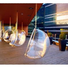 "The Bubble chair designed Finish Designer Eero Aarnio in 1968 - also known for the ""Ball Chair"". - Great use of this chair on terrace of a Stockhom hotel. Hotel Stockholm, Bubble Chair, Indoor Outdoor, Outdoor Living, Contemporary Outdoor Furniture, Ball Chair, Lounge, Hanging Chair, Chair Design"