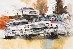 At full speed Lancia Rally Painted with watercolors on France paper Classic Sports Cars, Automotive Art, Watercolor Paintings, Poster, Drawings, Water Colors, Watercolour Paintings, Billboard, Watercolor Painting