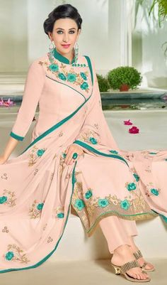 Light Pink Beautiful Designer Embroidered Suit With Embroidered Dupatta