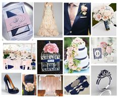 navy cream and blush inspiration board