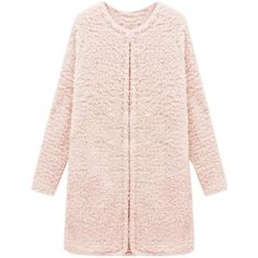 Blackfive Round Neck Hooked Md-long Coat (345 NOK) ❤ liked on Polyvore featuring outerwear, coats, jackets, blackfive, longline coat, long coat, long pink coat, round neck coat and pink coat