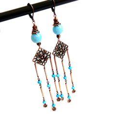 Turquoise Copper  Chandelier Earrings Handmade by AssiaDesigns
