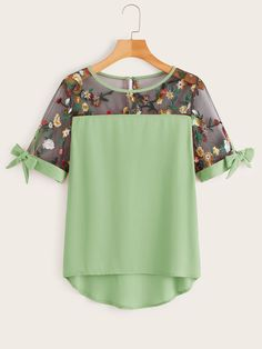 Plus Contrast Mesh Floral Embroidered Blouse Summer Boho Knot Wome. Plus Contrast Mesh Floral Embr Plus Size Blouses, Plus Size Tops, Plus Size Women, Plus Size Kleidung, Couture, Embroidered Blouse, Types Of Sleeves, Blouse Designs, Plus Size Outfits
