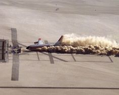 Photograph of a skidding along the ground just before its impact with an obstruction in a crash test by NASA at Edwards Air Force Base Calfornia USA on - - Boeing 720, B720, Edwards Air Force Base, Full Hd Pictures, Air Force Bases, Sci Fi Fantasy, Destruction, Love Photography, High Quality Images