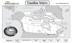 c1w22 canada water bodies to label website offers other geography print outs and learning