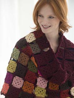 Charming Small Squares Crochet Shawl