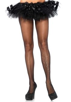 Sheer black pantyhose with a unique rhinestone galaxy patterned one leg detail. Sheer Black Pantyhose with Rhinestone Galaxy Detail, Rhinestone Pantyhose Bas Sexy, Galaxy Pattern, Sexy Socks, Fishnet Stockings, Opaque Tights, Glamour, Black Pantyhose, Leg Avenue, Lingerie