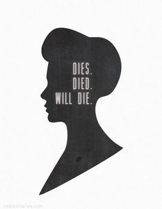 "Rosalind Lutece from Bioshock Infinite wall hanging ""Dies. Died. Will die,"" quote."