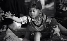 Playing sand at ancol beach