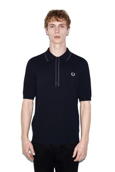 1a369c79ff Fred Perry - Reissues Broken Tipped Knitted Shirt Navy Sports Shirts