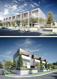 Our latest townhouse development in Mornington has just received planning approval. The mews style development of 48 townhouses creates a unique Master-planned community on the Mornington Peninsul… Modern Townhouse, Townhouse Designs, Facade Design, Exterior Design, Residential Architecture, Architecture Design, Habitat Groupé, Building Design, Building A House