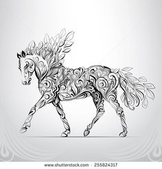Horse in the ornament - stock vector