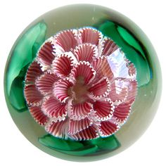Large Fratelli Toso Murano Pink White Flower Italian Art-Glass Paperweight | From a unique collection of antique and modern desk accessories at https://www.1stdibs.com/furniture/decorative-objects/desk-accessories/♥≻★≺♥