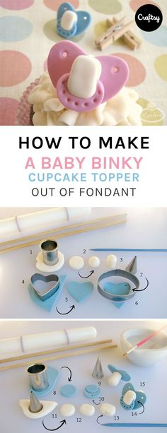 This baby binky fondant tutorial is the secret to a perfect baby shower cake. Learn how to make this fun and adorable baby shower cake topper. essen Creative Baby Shower Cake Designs: A Free Tutorial on Bluprint Fondant Cupcakes, Fondant Baby, Fondant Toppers, Cupcake Cakes, Buttercream Cake, Baby Shower Kuchen, Gateau Baby Shower, Baby Shower Cupcakes, Shower Cakes