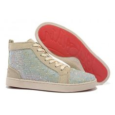 Christian Louboutin Apricot hot fix rhinestone Shoes for discount $145.00