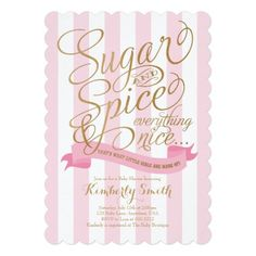 Sugar and Spice Baby Shower Invitation for a Baby Girl in Pink and White Stripes with a lovely Cursive Gold font.