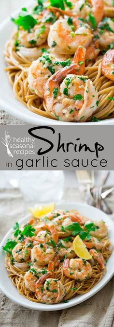 shrimp sauteed in garlic sauce with lemon and parsley. An easy weeknight meal in only 20 minutes. Paleo and gluten-free.