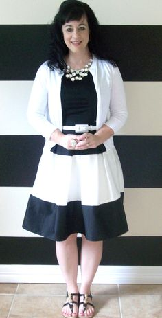 Black and white Striped Color-blocked Hartley Dress with full  pleated skirt very retro and vintage 50's and 60's inspired. $140.00, via Etsy.