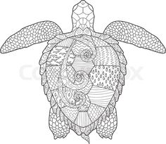 Stock vector of 'Sea turtle with high details. Adult antistress coloring page. Hand drawn doodle for art therapy. Sketch for tattoo, poster, print, t-shirt in zentangle style. Vector illustration'