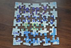 by contributing writer Kristen Puzzle cards are a fun craft for kids to make and the recipient gets to have fun by putting their puzzle card together! The blank puzzles that are available in craft Quick Crafts, Crafts For Kids To Make, Gifts For Kids, How To Make, Diy Birthday, Birthday Cards, Birthday Gifts, Home Management, Make Your Own Puzzle